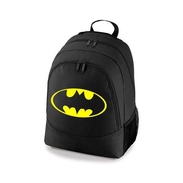 f1a6074a5f5d BATMAN RETRO LOGO DC COMIC SUPERHERO BACKPACK SCHOOL COLLEGE SPORT BAG ❤  liked on Polyvore