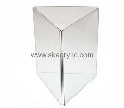 Customized Acrylic Sign Display Holders Plastic Table Top Displays 3 Sided  Sign Holder SH 106