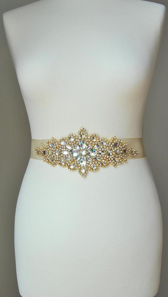 Wedding Belt Bridal Bridesmaid Crystal Rhinestone Ready To Ship This Is Unique Luzury With Large