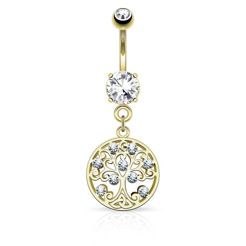 Gold belly piercing jewellery  Gold Tree of Life Dangle Belly Button Ring  вєllч вuttσn ríngѕ