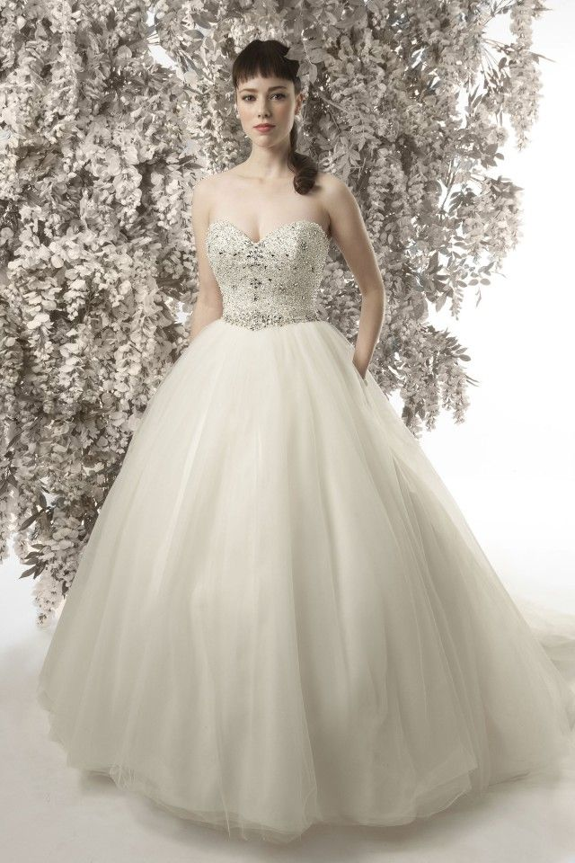 CHRISTINE DANDO DESIGNS. Diana Dors Christine Dando Ball Gown Wedding Dress, Heavily encrusted bodice of  pearls and crystal with a full tulle ball gown skirt