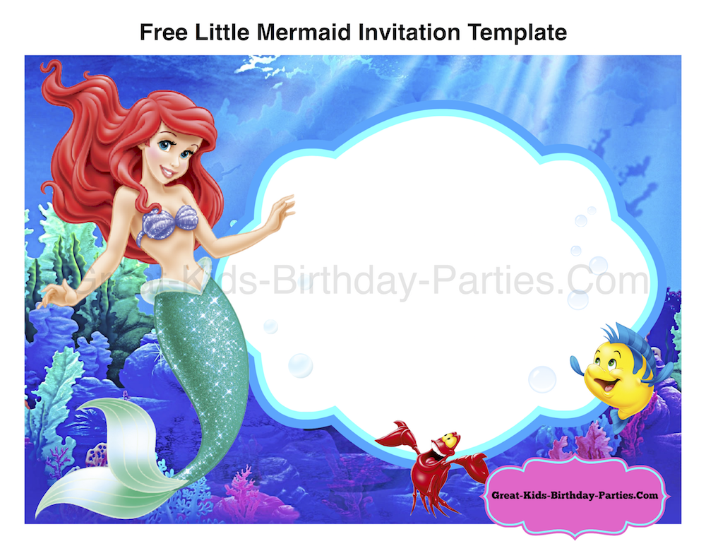 free little mermaid invitation template - Little Mermaid Party Invitations