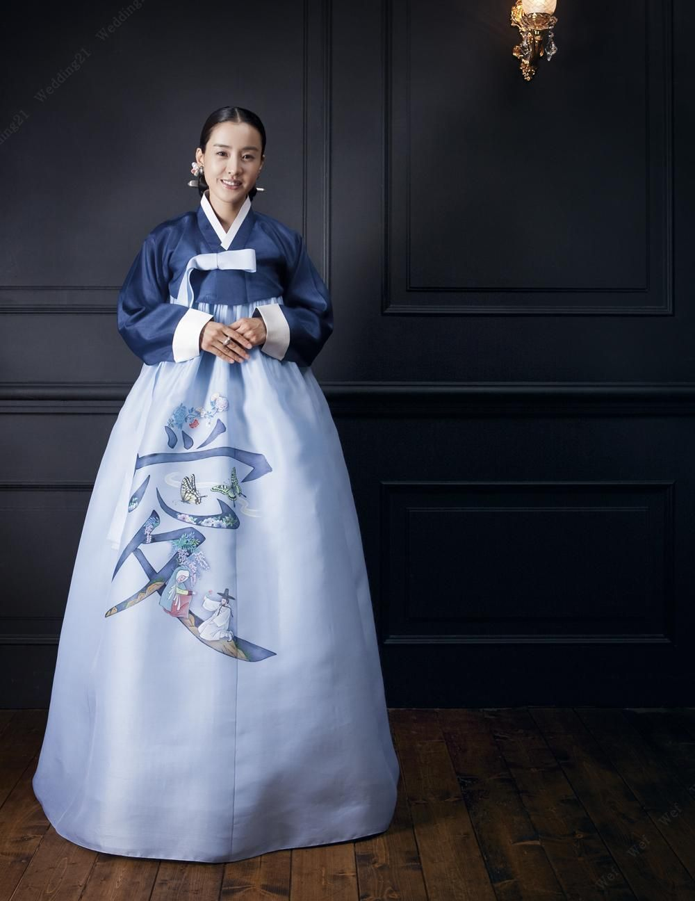 Modern hanbok traditional korean dress with simple blue jeorgori