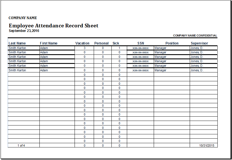 employee attendance record sheet at http://www.wordexceltemplates ...