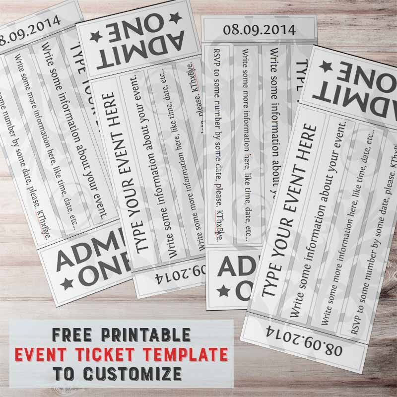 Free Printable Event Ticket Template To Customize Ticket Template Free Printables Ticket Template Ticket Template Printable