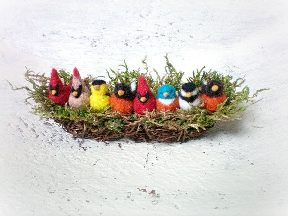 Mini Felted Row Of Birds In A Nest by gotcrowcreations on Etsy, $60.00