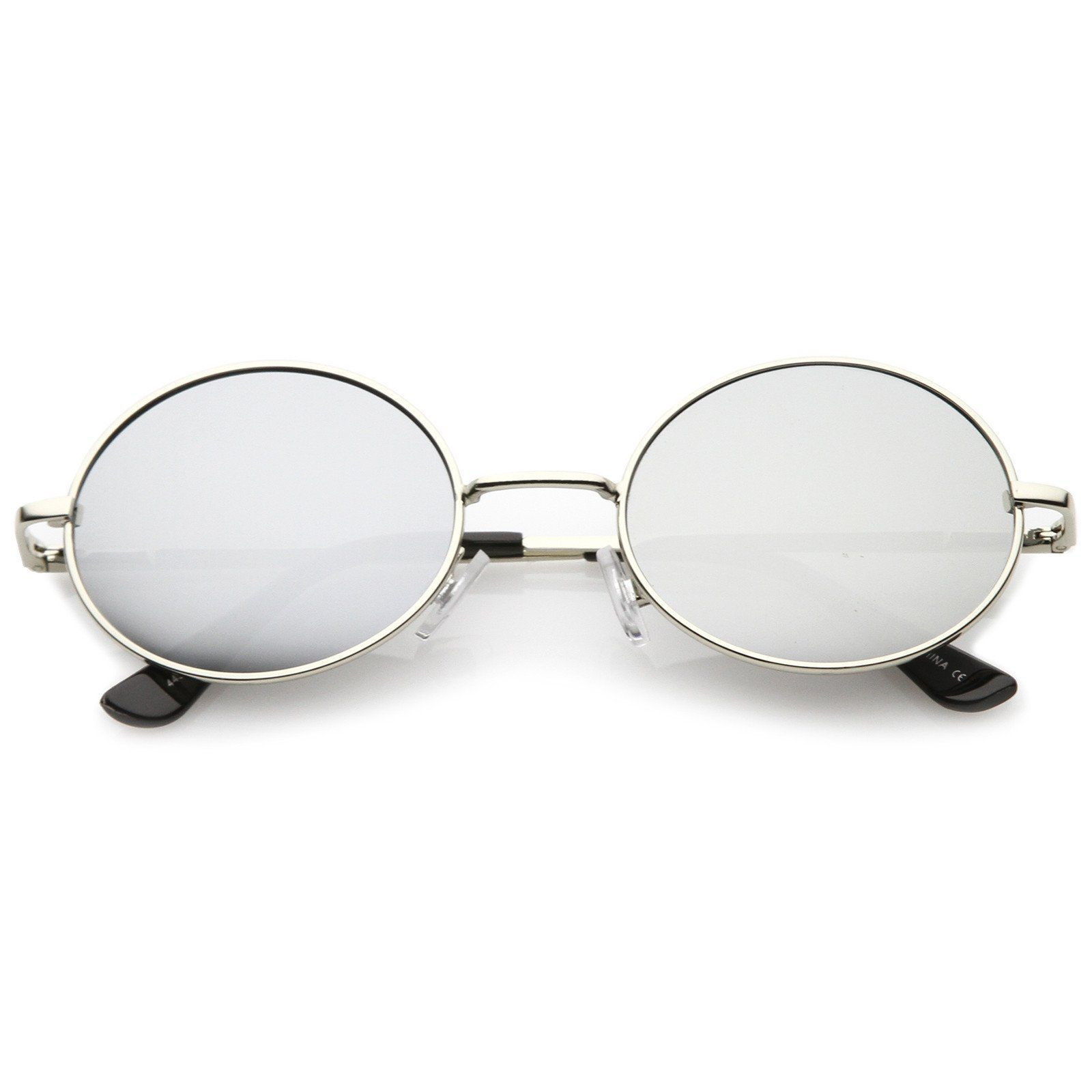 3591b2aa90 Classic Lightweight Slim Arms Colored Mirror Flat Lens Oval Sunglasses 50mm
