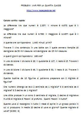 PROBLEMI VARI PER LA QUARTA CLASSE | Problemi di ...