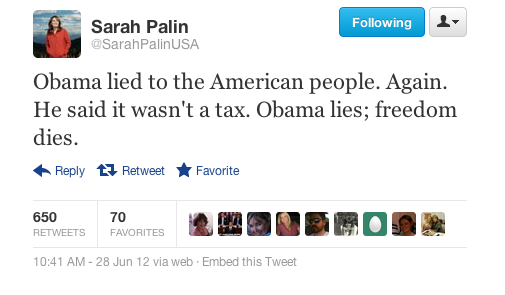 Sarah Palin on Obamacare  This is cute. The winner in politics is really who can rhyme best.