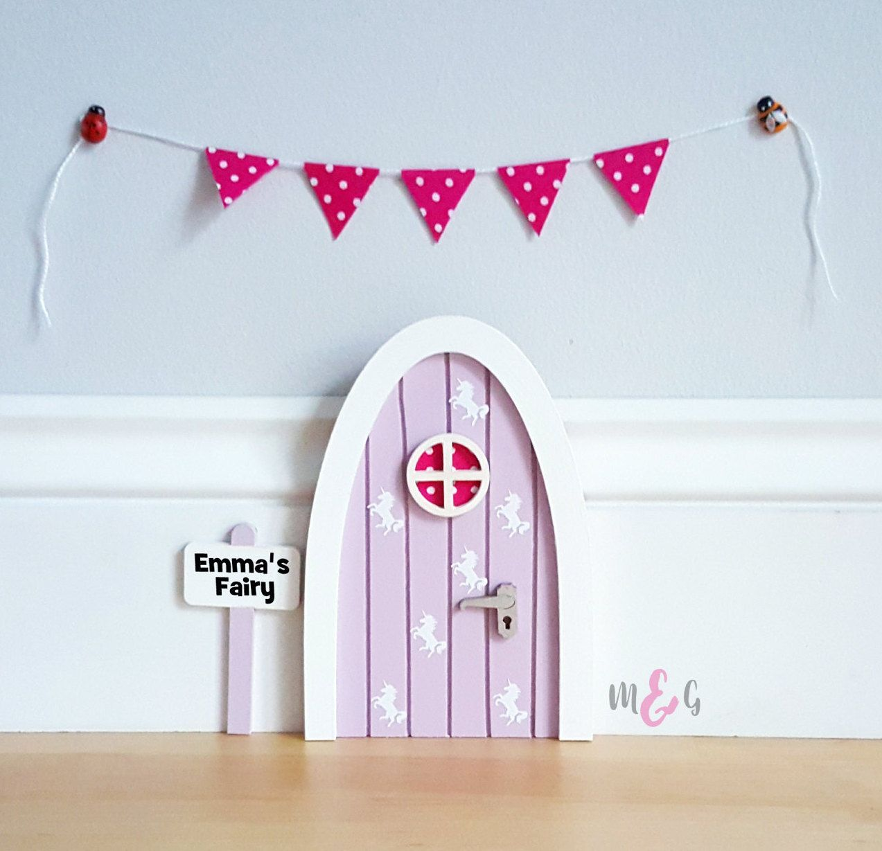 Personalised lilac unicorn fairy door great gift for girls and ...