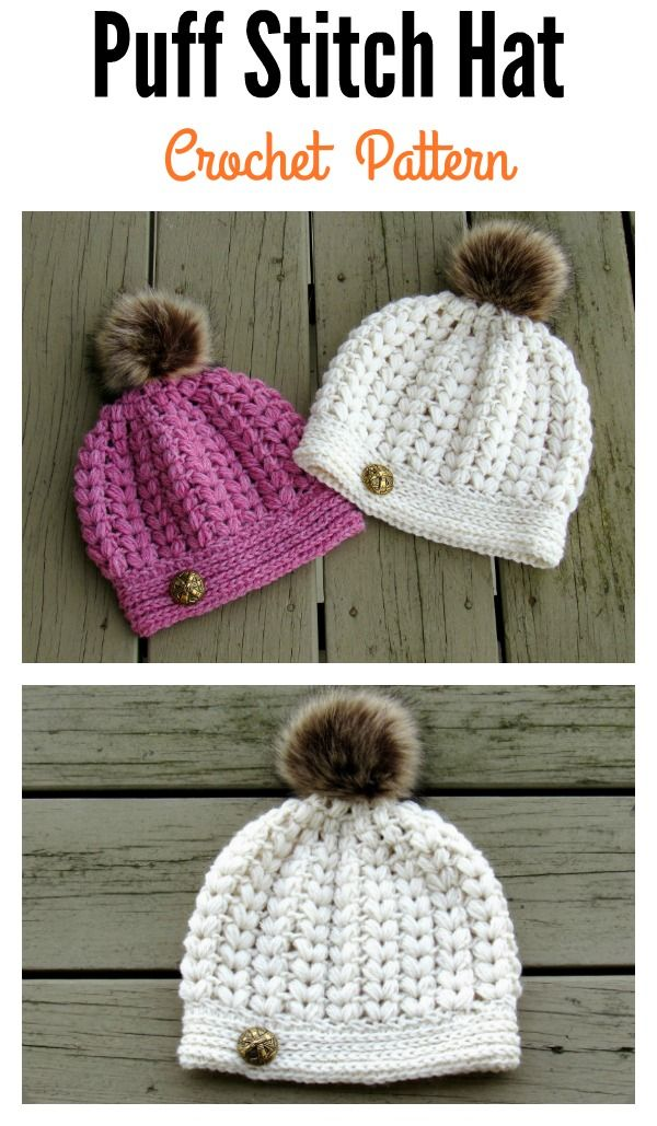 V-Shaped Puff Stitch Hat Crochet Pattern and Video Tutorial