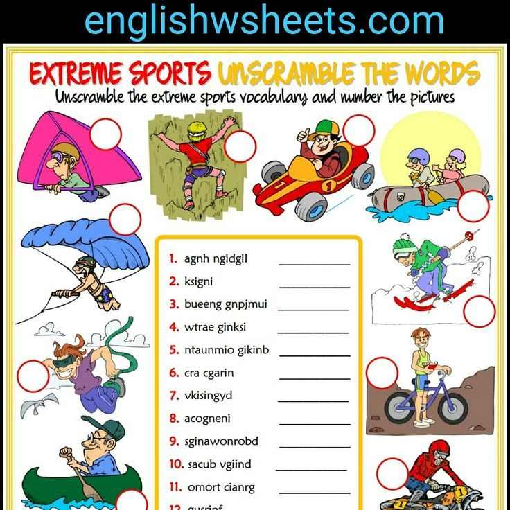 extreme sports esl printable unscramble words for kids extreme sports extremesports esl. Black Bedroom Furniture Sets. Home Design Ideas