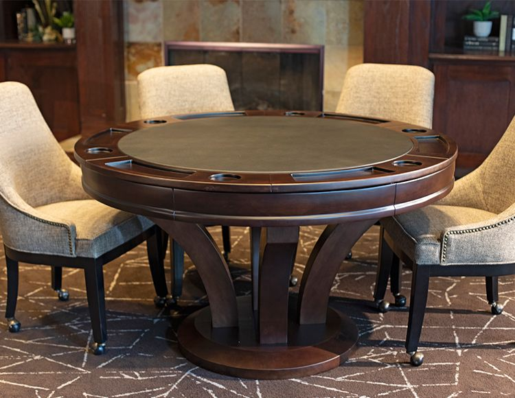 54 Wood Poker Table Espresso Finish Round Game Table Game Room Furniture Dining Table Round Poker Table