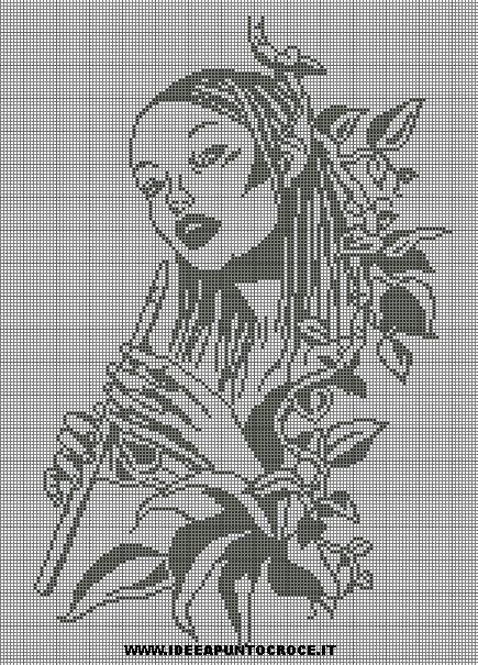 0 point de croix monochrome femme jouant de la flute - cross stitch woman playing flute