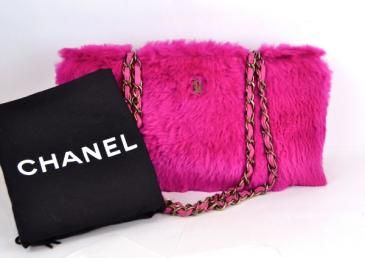 2e11ec092205 Auth Chanel Pink Lapin Rabbit Fur Chain Strap Shopping Tote Bag ...