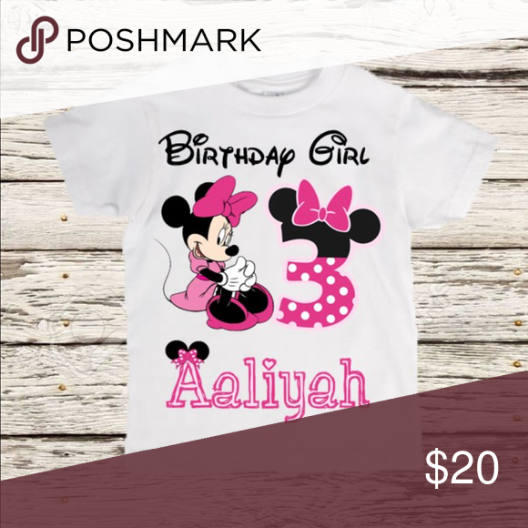 Minnie Mouse Birthday Shirt Get Your Child A Custom Made With Their Name And Age Tops Tees