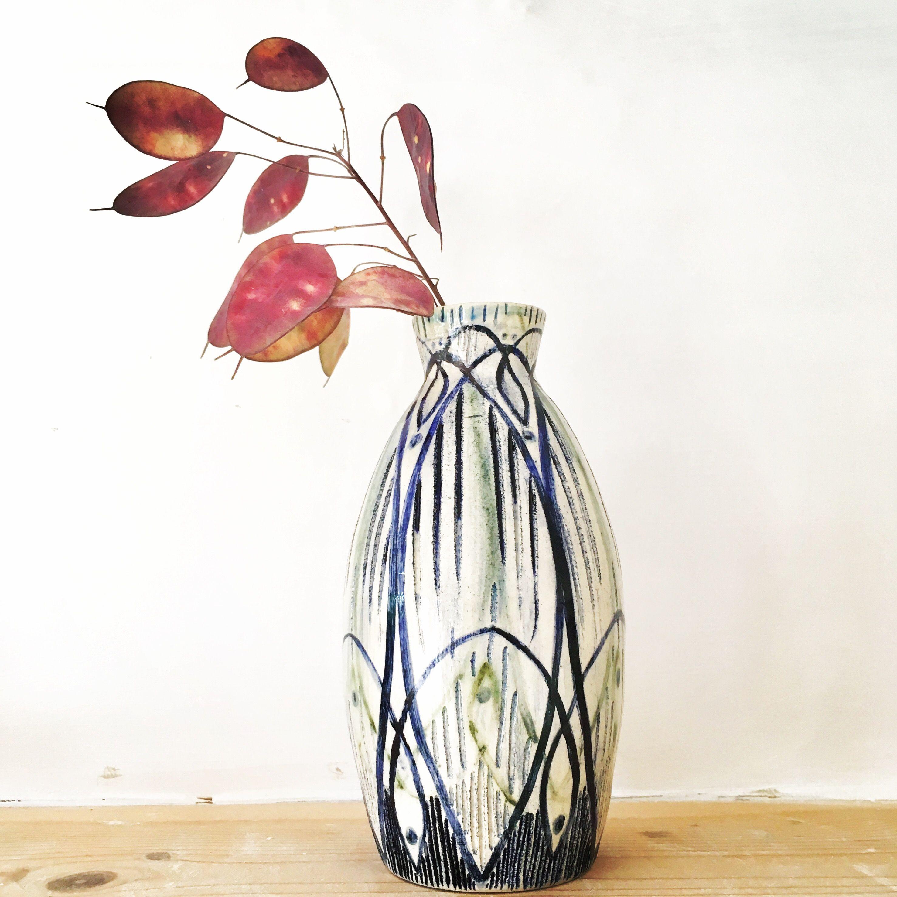 Handpainted wheelthrown bud vase decorative pottery