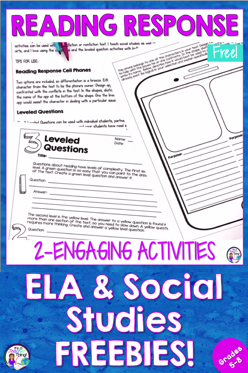 Free reading response activities that are engaging and rigorous! If you're  looking for…   Reading response activities [ 1256 x 837 Pixel ]