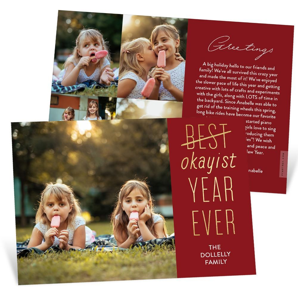 Okayist Year Christmas Card Pear Tree in 2020