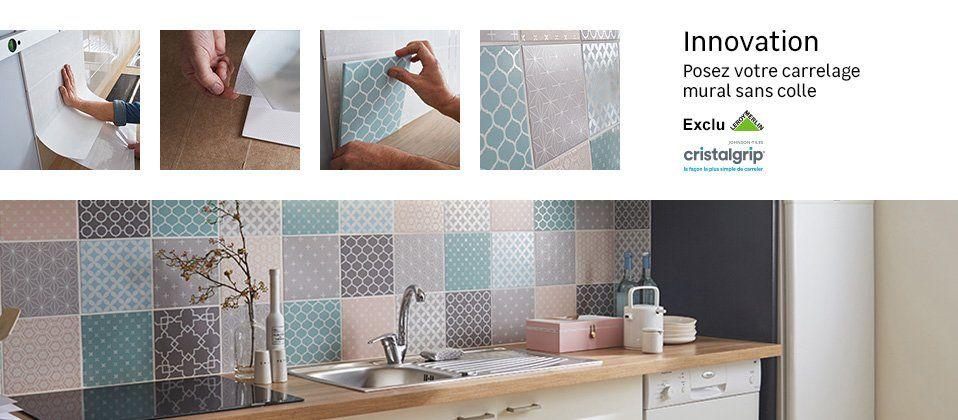 Systeme De Pose Carrelage Mural Sans Colle Cristalgrip Leroy Merlin Carrelage Adhesif Carrelage Pose Carrelage Mural