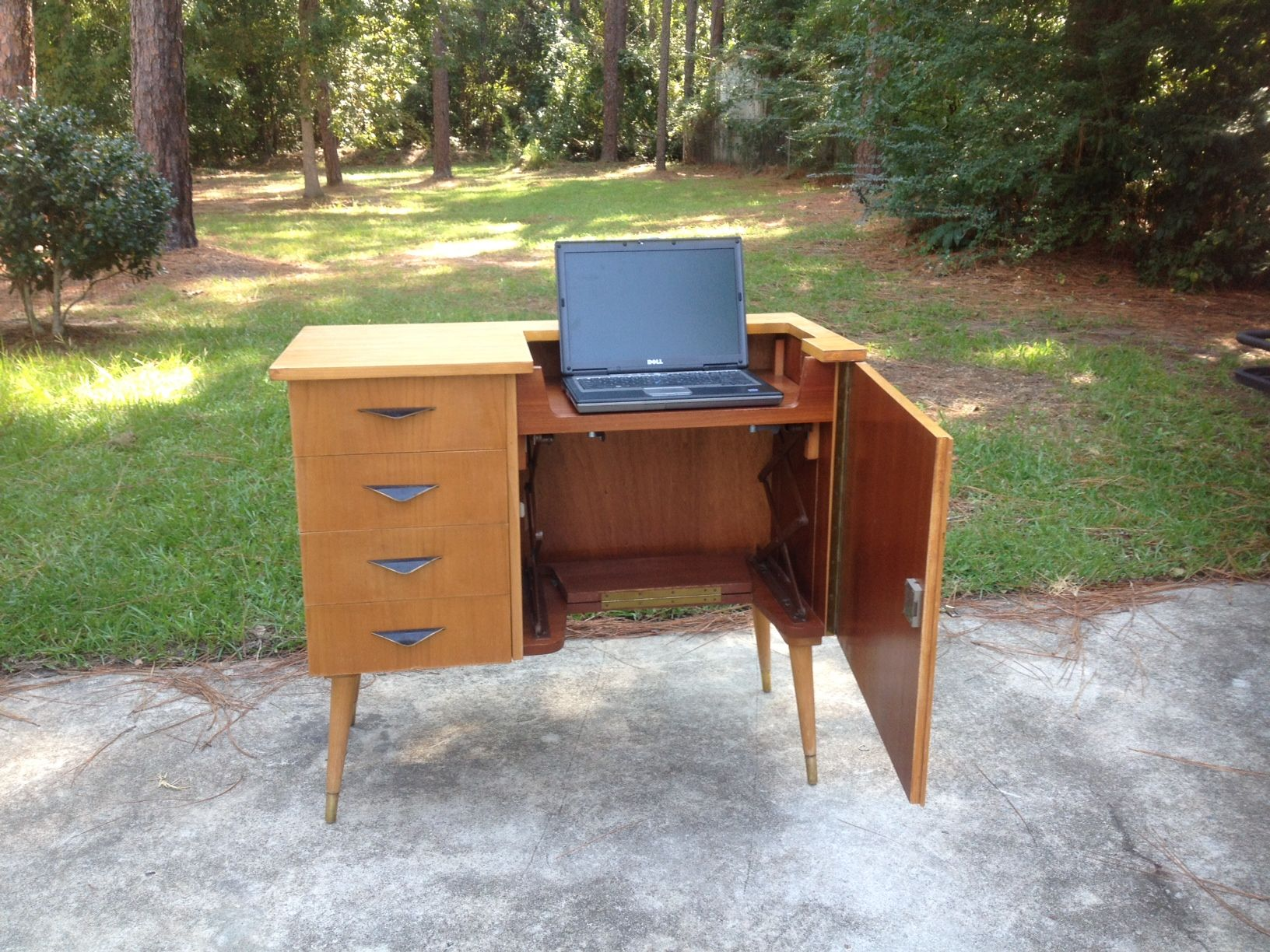 A midcentury sewing machine cabinet to use for computer desk, bar ...