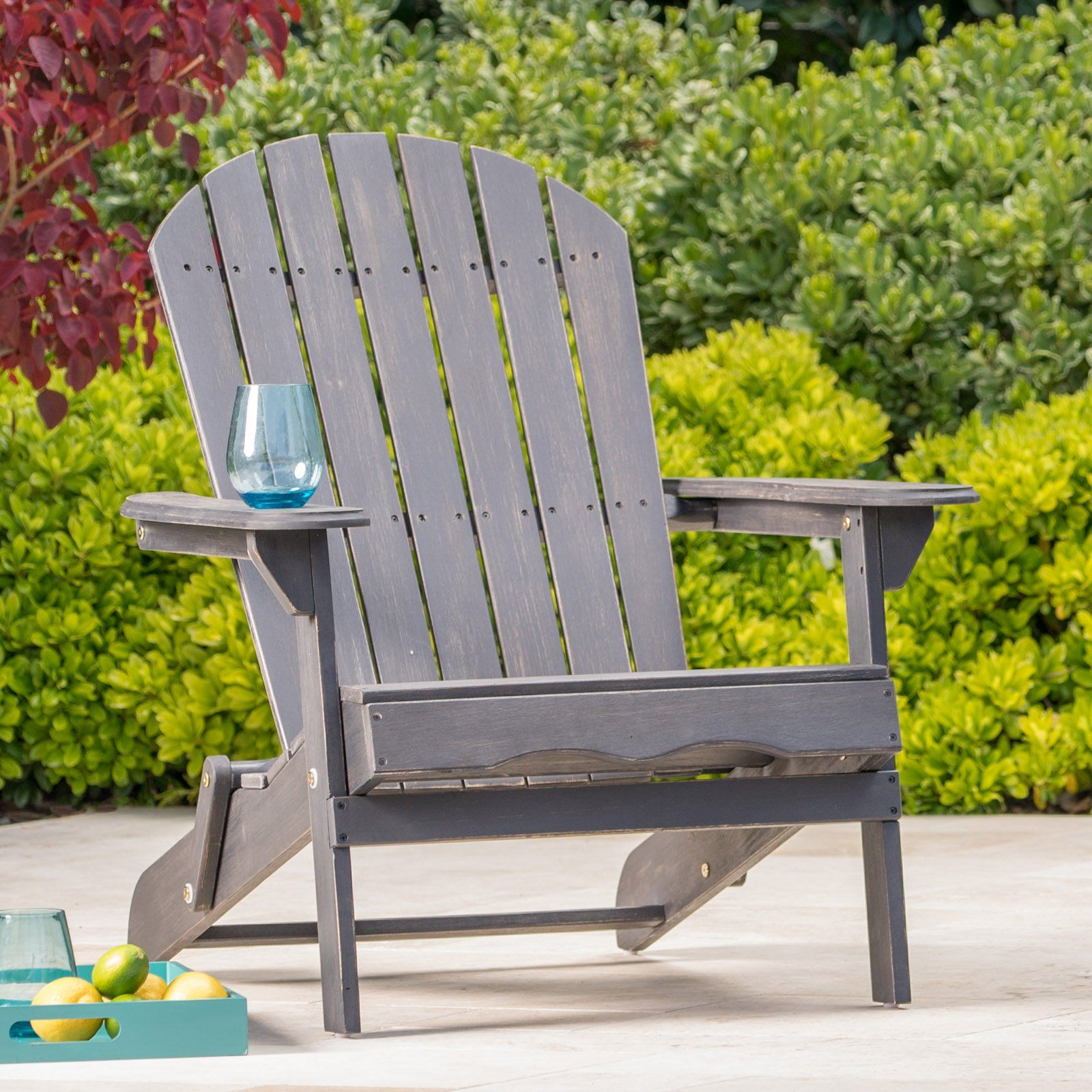 Outdoor Hanlee Folding Wood Adirondack Chair In 2019 Wood
