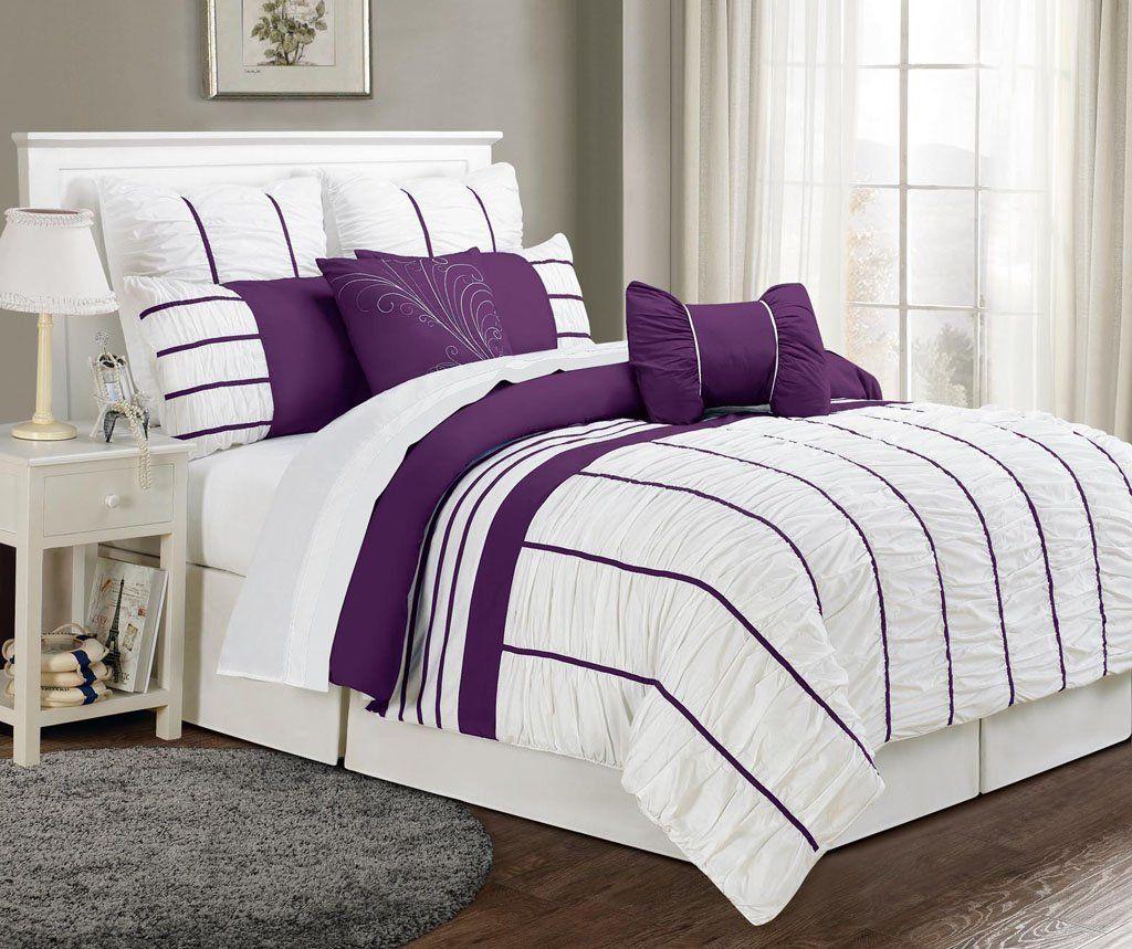 Amazon.com - 8 Piece Queen Villa Purple and White Comforter ...