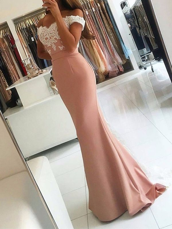 Photo of Trumpet Appliques Off-the-Shoulder Sweep Train Evening Dress