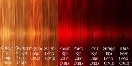 Different colors of burgundy red auburn red different shades of