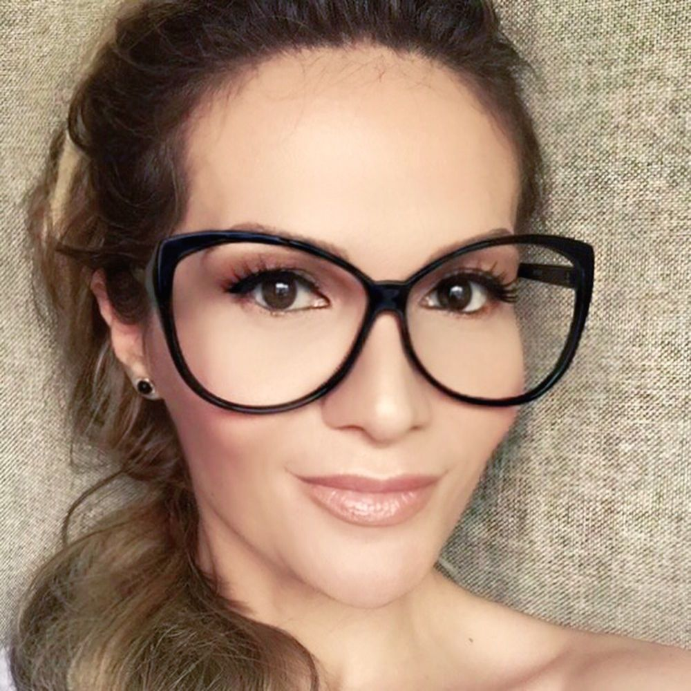091168c757 Oversized Large Cat Eye BLACK Hot Teacher Celebrity Glasses Eyeglasses  Frames L  FashionLabel