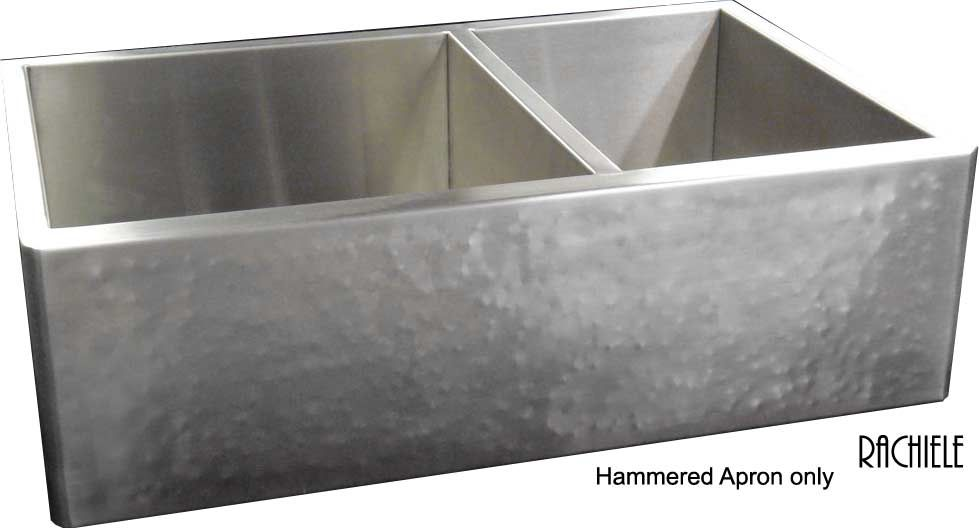 Double Bowl Hammered Stainless Farmhouse Sink By Rachiele