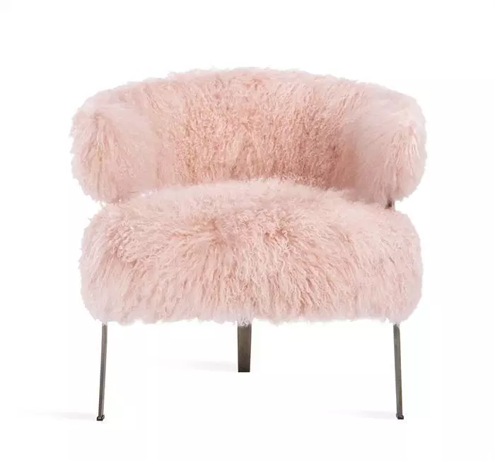 Pink Fluffy Chair Adele Lounge Chair In Blush Sheepskin Dining Chairs Diy Pink Office Chair Pink Chair
