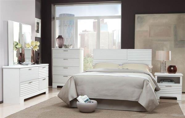 Action White 5pc Bedroom Set W/Full/Queen Panel Headboard