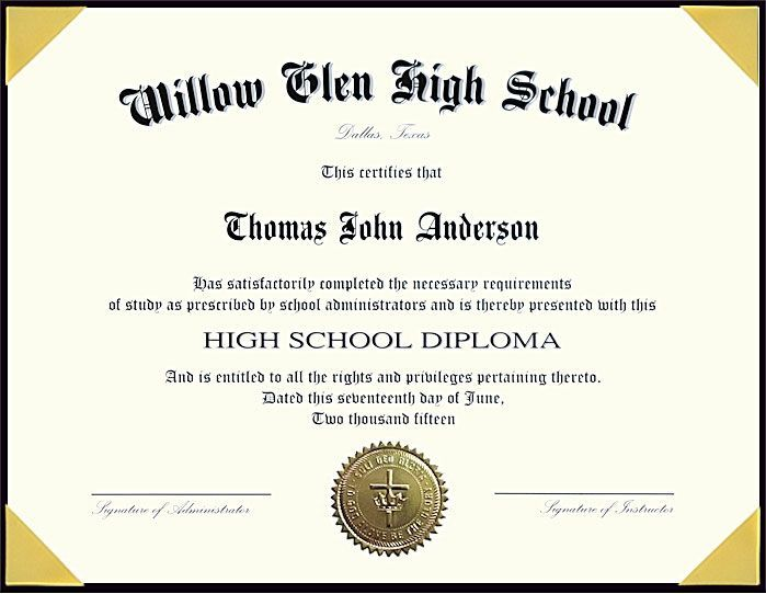 standard homeschool high school diploma