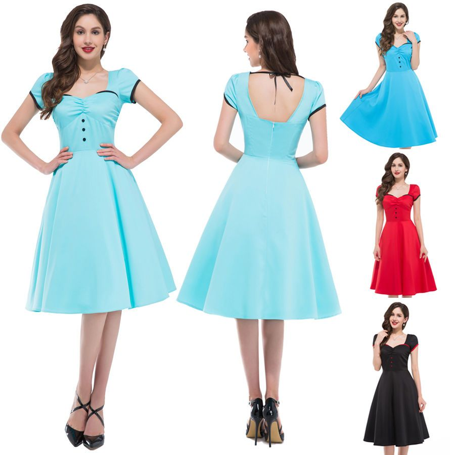 CHEAP Swing 50s Housewife pinup Vintage Rockabilly Retro 1950S Dress ...