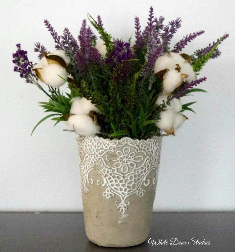 Farmhouse lavender and cotton arrangement etsy