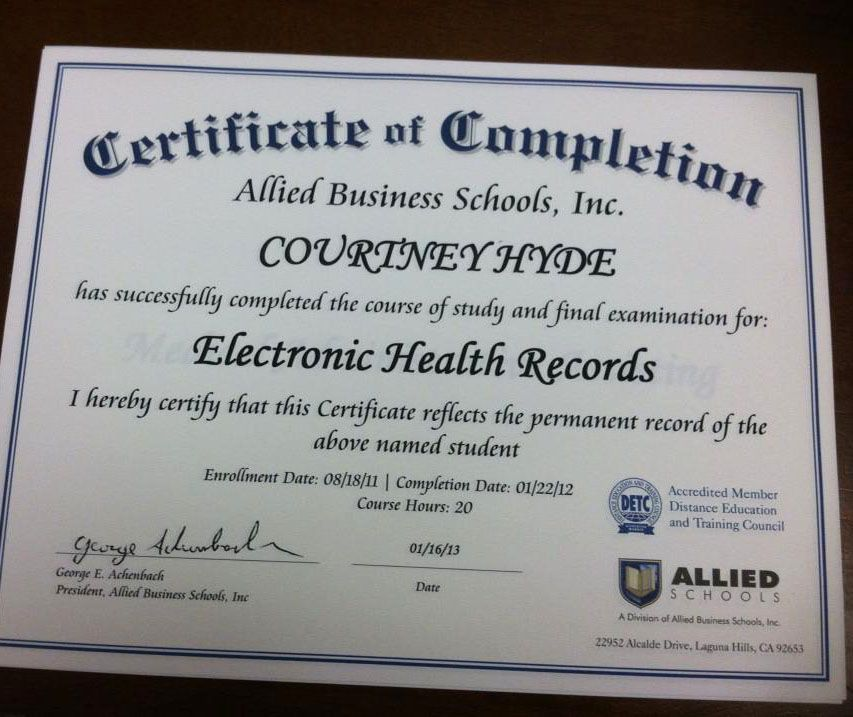 Allied Schools Student Courtney Hyde Earned Her Certificate Of