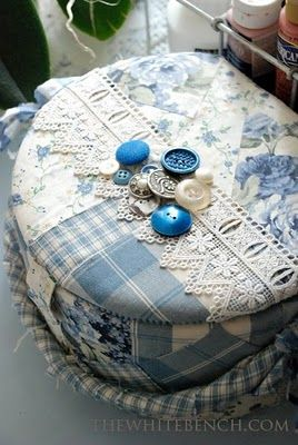 Patchwork box - blue and white