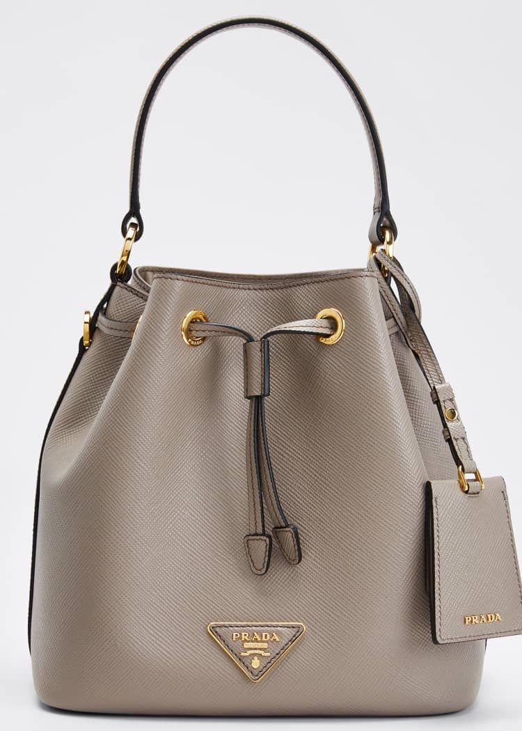 Photo of Prada Saffiano Bucket Bag w/ Removable Crossbody Strap
