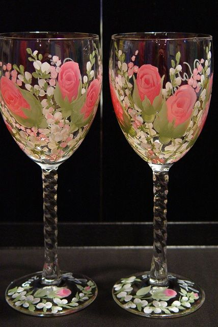 Rose french twist wine glasses copas pinterest copas for Copas decoradas a mano
