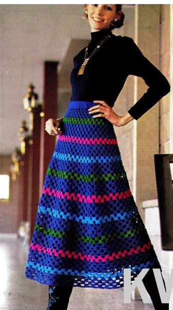 Vintage 70\'s Crochet Skirt Pattern - PDF Pattern - INSTANT DOWNLOAD ...