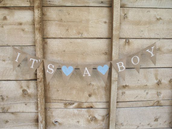 Its A Boy Burlap Banner In White Lettering, Baby Shower Banner, Photo Prop,