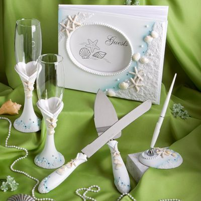 beach themed wedding set (includes guest book, pen, cake cutting set, & champagne glasses)
