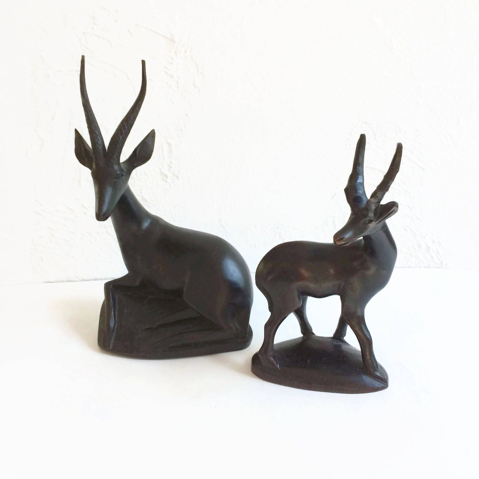 Hand Carved Gazelles Pair Wooden Statues Figures, Home Decor Accents ...