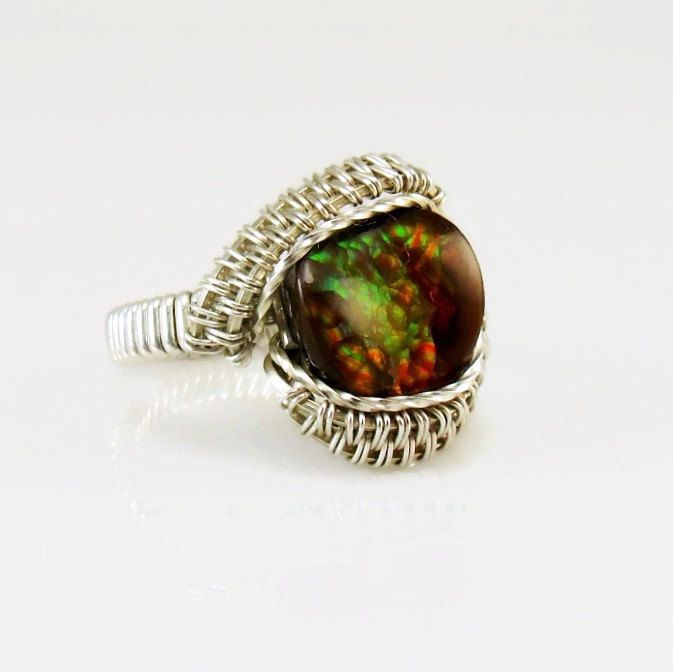 Fire Agate Ring Wire Wrap Stone 925 Sterling Silver Size 7 Handmade Heady Jewelry Kynd Valley by kyndvalley on Etsy