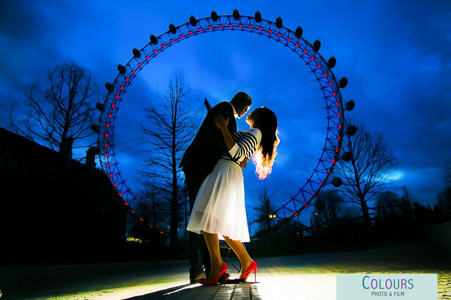 Night Time Pre Wedding Photography London Eye See The Colours Of