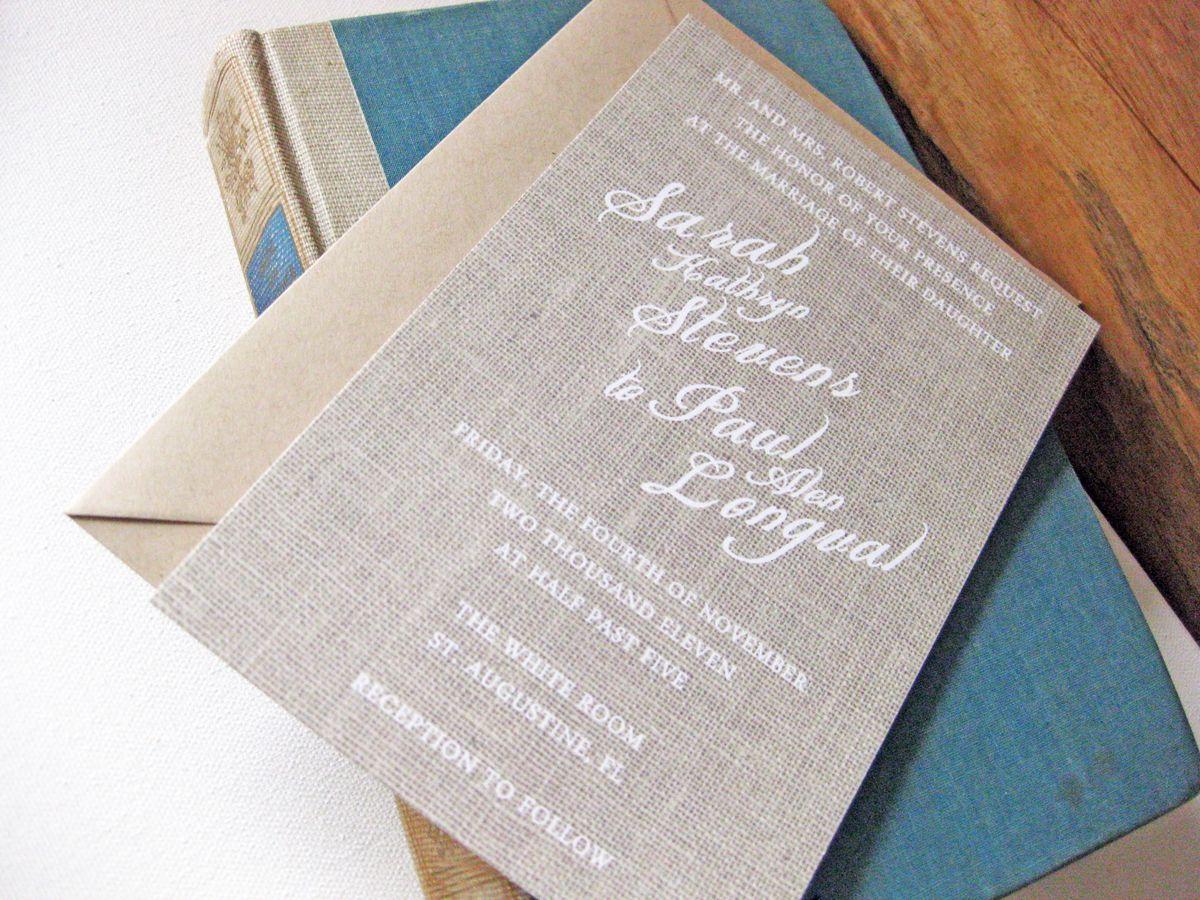 Charleston Sc Wedding Invitations: Wedding Invitation. Linen Paper. Dodeline Press