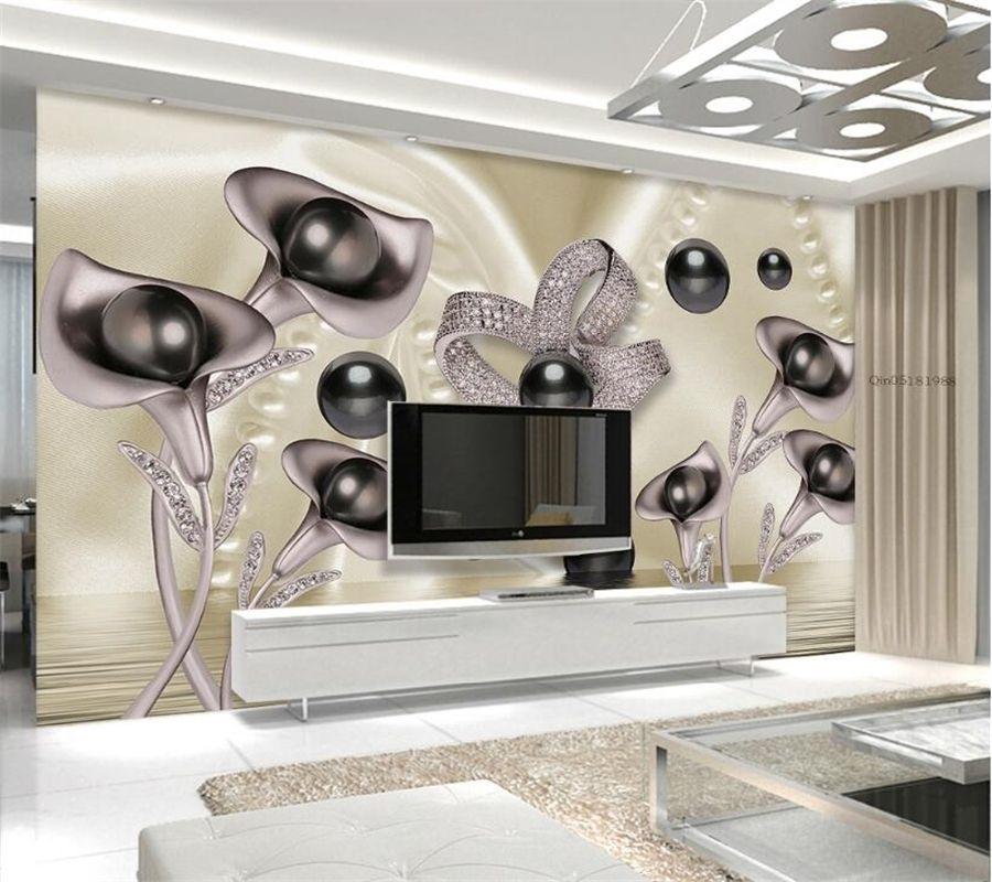 Beibehang Custom Wallpaper 3d Calla Butterfly Water Wave