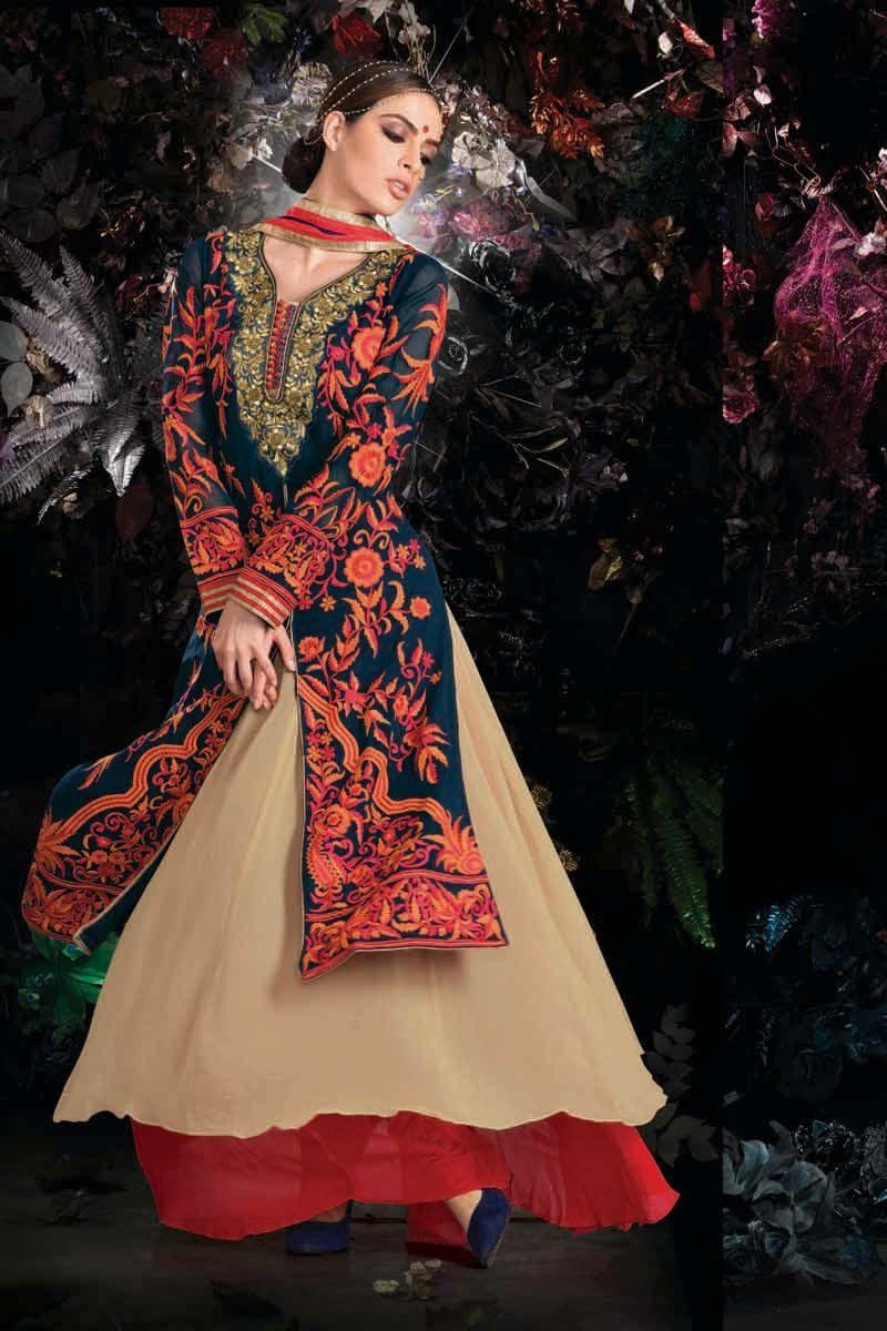 Pink faux georgette embroidered designer salwar kameez lehenga