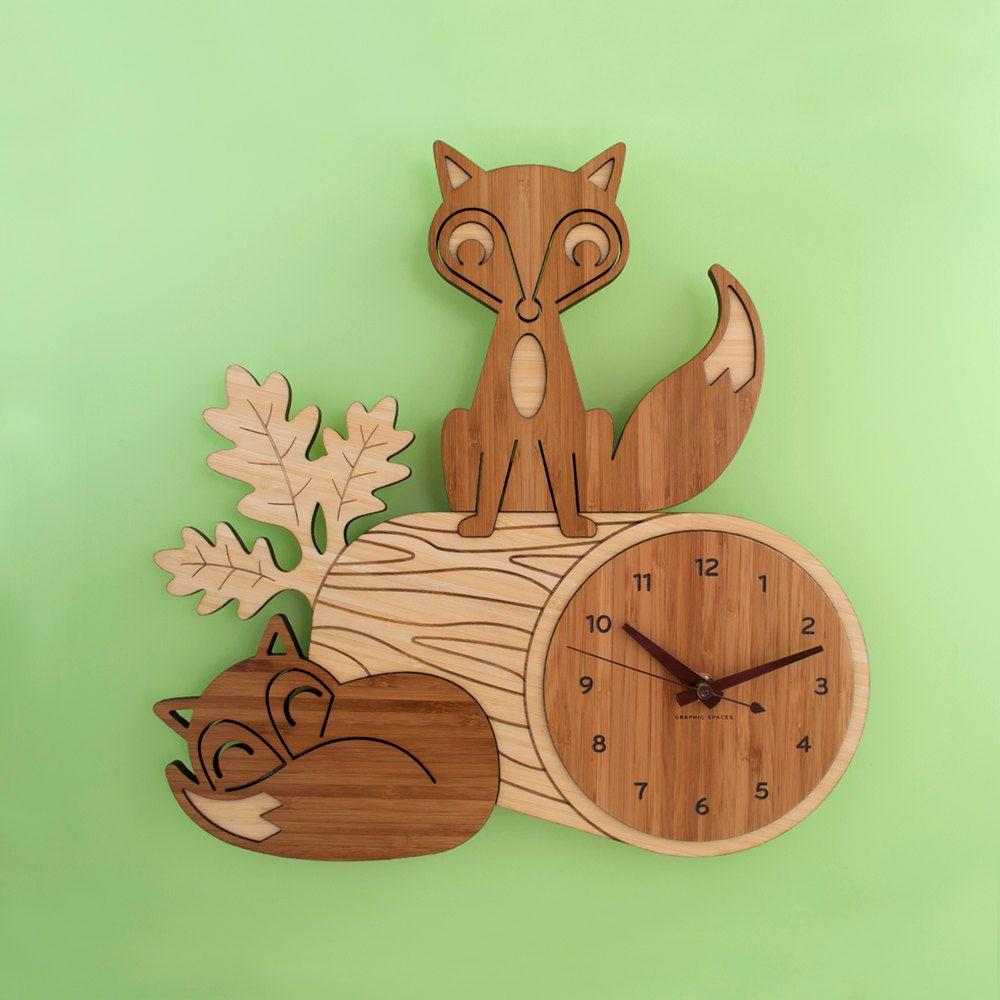bamboo fox wall clock: wood animal kids clock woodland nursery